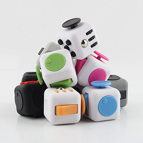 Fidget Magic Cube Release Stress and Desk Toy for Children and Adults (White/Pink) -