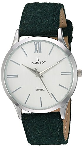 Peugeot Unisex-Adult Analog-Quartz Watch with geninue-Leather Strap 2058GR