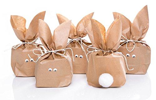 10 Stück SET kleine Ostern Geschenktüten OSTERHASE basteln natur braun 16,5 x 26 x 6,6 cm - witzige Ostertüte Verpackung Kinder Erwachsene als Osternest give-away Geschenke verpacken Hasenohren