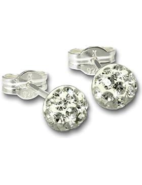 SilberDream Glitzer Ohrstecker kristall-weiß Preciosa Zirkonia Halbkugel Sterling Silber 925 Ohrring GSO221W