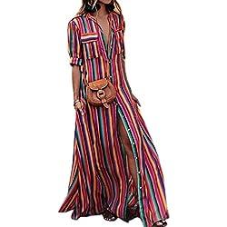 La Mujer Elegante Vestido Maxi Vestidos De Rayas Botón Red 3XL