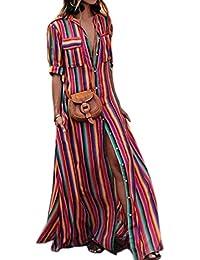 Suvotimo La Mujer Elegante Vestido Maxi Vestidos De Rayas Botón
