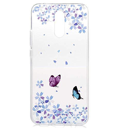 Handyhülle Handytasche für Huawei Mate 20 Lite Hülle Schutzhülle Silikon TPU Dünn Durchsichtig Schmetterlingsblume Clear Weich Silikon TPU Tasche Softcase für Huawei Mate 20 Lite,Butterfly Flower