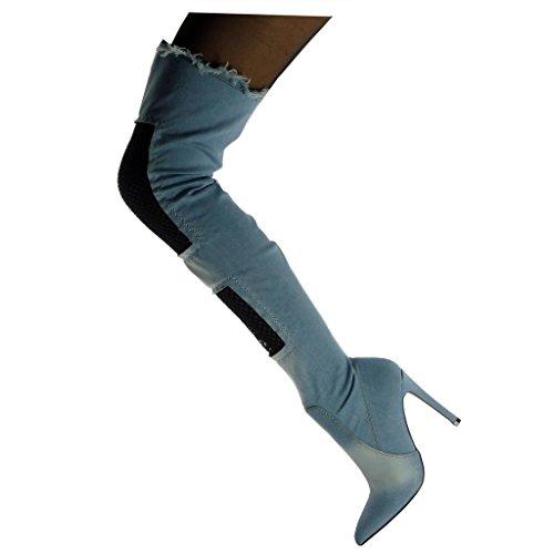 Angkorly Scarpe Moda Stivali Alti Ginocchio Stivali - Scarponi Flessibile Cavalier Stiletto Donna Fishnet sfilacciato Tacco Stiletto Alto 11 cm Azzurro