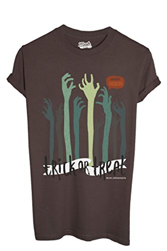MUSH T-Shirt Trick Or Treat Happy Halloween Party - Zombie Hand - LUSTIG by Dress Your Style - Baby-XL-Braun (Happy Halloween-lustiges Meme)