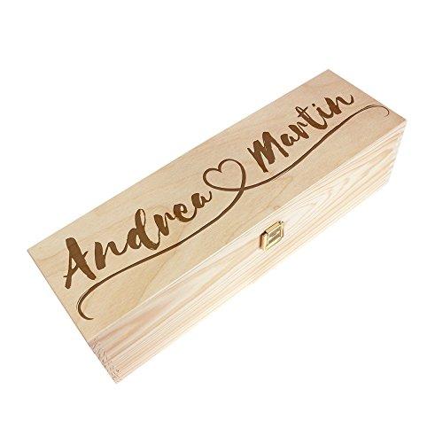 Casa vivente - scatola da vino in legno con incisione - personalizzata con [nomi] e cuore - confezione per bottiglie di vino - portabottiglie - idee regalo per coppia - regali di san valentino