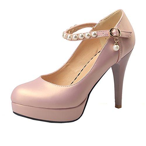 UH Damen High Heels Plateau Knöchelriemchen Geschlossene Pumps mit Stiletto und Schnalle Perlen Elegante Schuhe