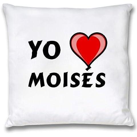 Ropa de almohada blanca con Amo Moisés (nombre de pila/apellido/apodo)