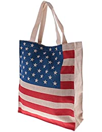 MagiDeal Eco-friendly Flag Design Easy Fold Shopping Tote Bag America