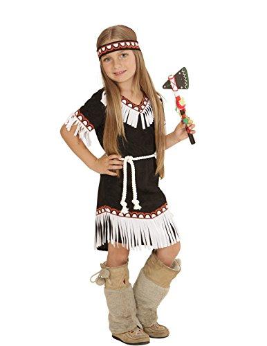 KULTFAKTOR GmbH Indianerin Wildwest Kinderkostüm schwarz-rot-Weiss 92/98 (2-3 -