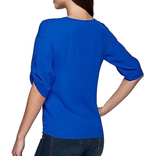 Damen Blusen Sommer Casual V-Ausschnitt mit Reißverschluss 4 arm Lose Bluse Chiffon T-Shirt Tops Große Größen Blau