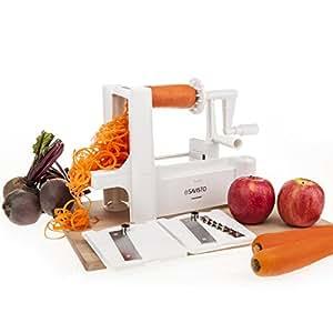 Savisto Tri-Blade Vegetable Spiralizer Slicer with 3 Interchangeable Stainless Steel Blades for Spaghetti, Pasta and Spirals