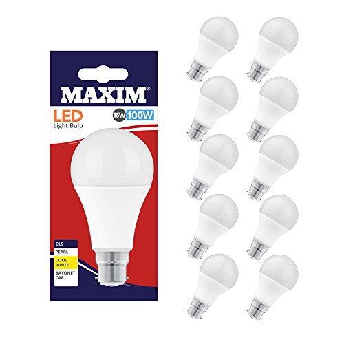 Maxim Lampe à LED, B22, froide, 16 watts, paquet de 10 [Classe énergétique A +]