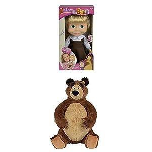 Simba Masha y el Oso Muñeca cantarina de 30 cm con sonido, +3 años (Simba 9306516) + Peluche, color marrón