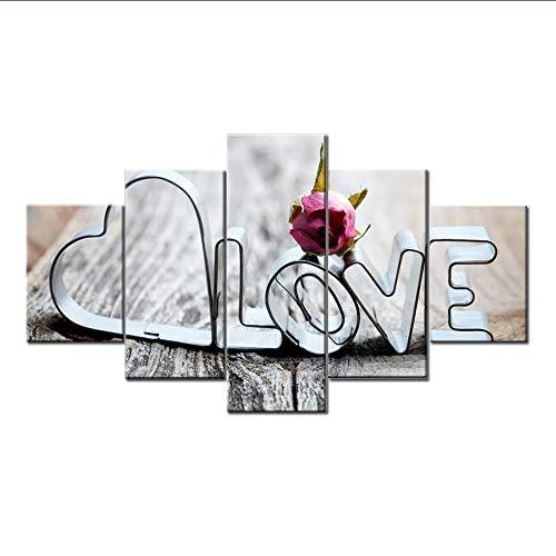 myvovo (Kein Rahmen) Leinwand HD Drucke Bilder Wohnzimmer Wandkunst 5 Stücke Liebe Romantische Worte Malerei Restaurant Home Decor Rose Poster