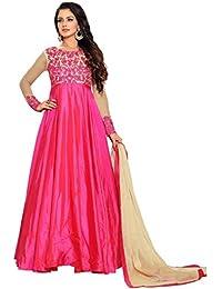Kings Fashion Bazaar Women Silk Anarkali Semi-Stitched Salwar Suit (GATMPU10468_Pink_Free Size)