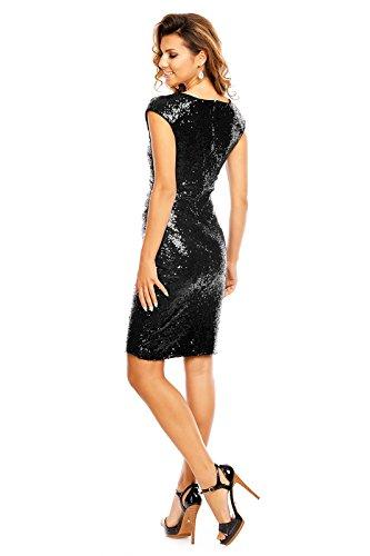 edles Paillettenkleid Glitzer Cocktailkleid Abendkleid mit Pailletten bestickt V-Ausschnitt vorne schwarz L - 4