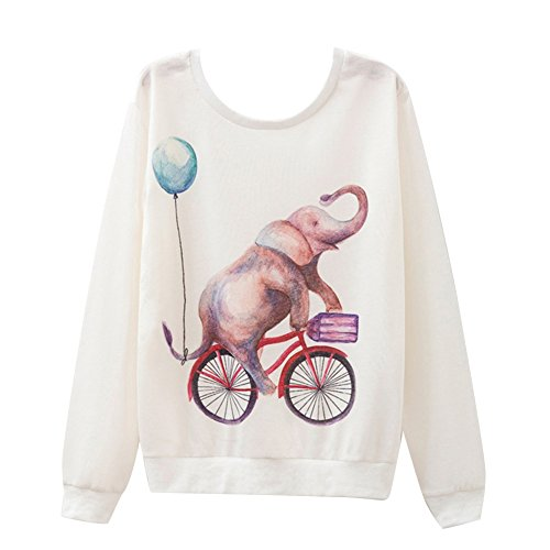 Gladiolus Donna Moda T-shirt Stampa Geometrica Manica Lunga Allentata Casuale Camicetta Maglietta Type 6
