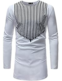 Sportides Hombre Manga Larga Casual African Style Printing Long Sleeve Button Down Dress Shirts Tops JZA384