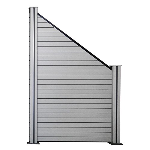 Hengda®WPC Sichtschutz Zaun Blickdicht Windschutz Zaunblende Quadratisch Holzzaun Grau Wetterfest Dichtzaun Für Balkon Terrasse Schwimmbad (1 Schräg inkl. 2 Pfosten)