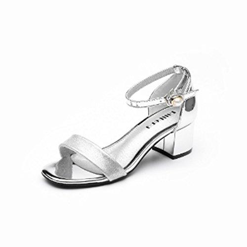Sandale-plattform Silber (Supshark--Frauen Dicke Heels Sandalen Offene spitze Plattform Heels Sandalen Plattform Abendkleid Freizeitschuhe Sandalen Schuhe (35 EU, Silber))