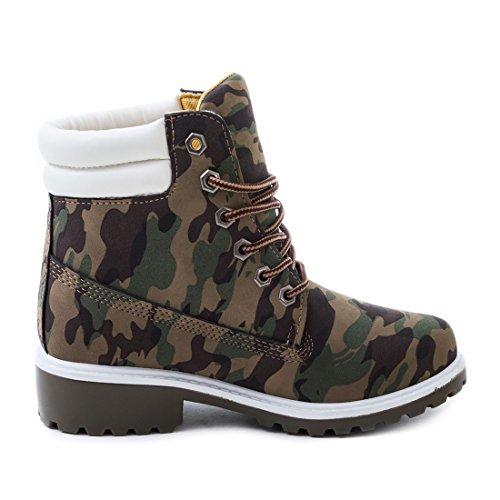 Trendige Unisex Damen Herren Schnür Stiefeletten Stiefel Worker Boots - auch in Übergrößen Camouflage Boston