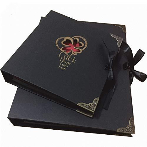 Momyeah AlbumKreative Sticky Boxed Fotoalbum Free Accesorries Hochzeit Autogramm Album handgemachte Graffiti Scrapbook, schwarz (Chart-papier Sticky)