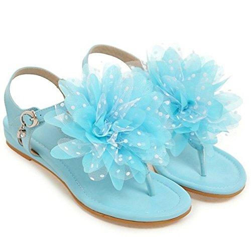 TAOFFEN Damen Bohemia T-Spange Flip Flop Flach Strand Sandalen mit Blume 849 Blau