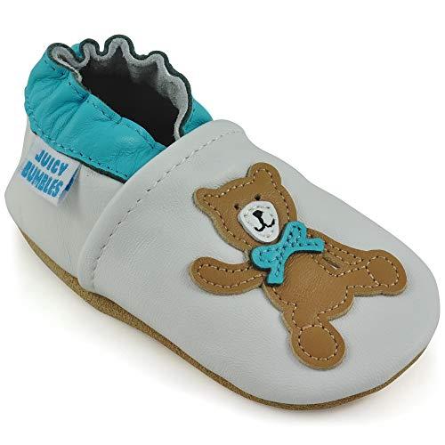 Chaussure Bebe Fille - Chaussure Bebe Garcon - Chausson Cuir Bébé - Nounours 0-6 Mois