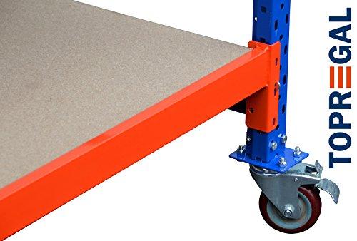 Werkbank fahrbar, Packtisch mit Holzboden verschiedene Breiten/Höhen/Tiefen/Ebenen (120/104/60cm (B/H/T), 2 Ebenen) - 6