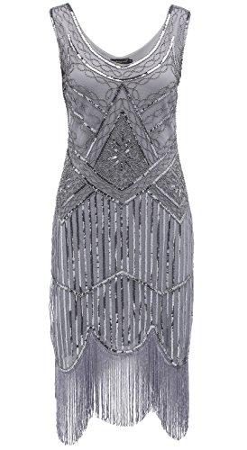 Mit Flapper Ärmeln Kostüm (BABEYOND Frauen Art Deco V-Ausschnitt 20s Gatsby Fringed Sequin Flapper Kleid (Etikette L/ UK16/ EU44, Schwarz und)