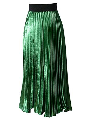 Nlife Gonna lunga elastica in vita asimmetrica con orlo asimmetrico grande a pieghe tinta unita Green