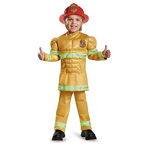 Disguise 84019M Fireman Toddler Muscle Costume, Medium (3T-4T) by Disguise