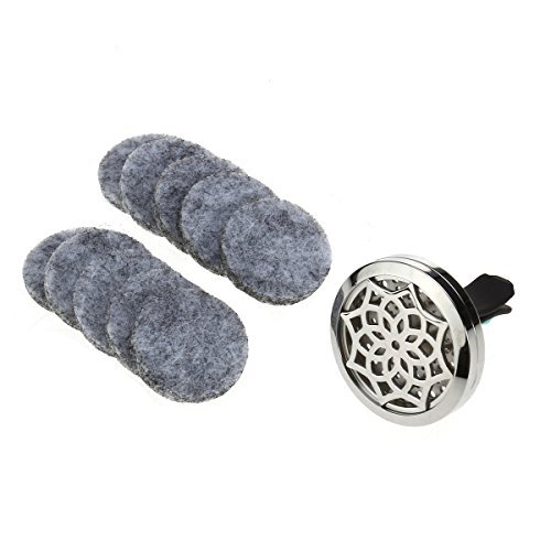Ultnice Öl-Diffusor/Luftbefeuchter fürs Auto, Aromatherapie-Medaillon-Clip mit 10waschbaren Pads zum Nachfüllen