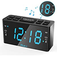Rétro Radio Réveil, Haice Radio-réveil numérique FM / AM avec Fonction de Veilleuse, Réveil LED numérique avec écran LED 5,5 pouces / Double Alarme avec Fonction Snooze /Gradateur,Batterie de secours