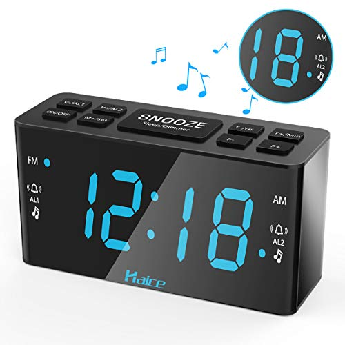 Digital Radio Alarm Clock Version, Haice Digital Radio Alarm Clock Double Alarm Clock FM / Am Digital Clock with Night Light Function, Powerful Alarm Clock with 5.5 LED Display