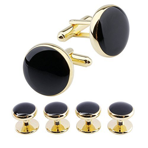 HAWSON Round Cufflinks and 4 Tuxedo Studs Set for Mens Dress Shirt Business Wedding Accessories ()