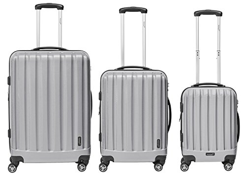 Packenger Kofferset - Velvet - 3-teilig (M, L & XL), Silber, 4 Rollen, Koffer mit TSA- Schloss und Erweiterungsfach, Hartschalenkoffer (ABS)
