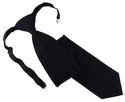 TigerTie Designer Security Sicherheits Krawatte Pique in schwarz uni gemustert - vorgebunden mit Gummizug in schwarz