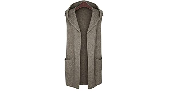 95bc2557e2 Elfjoy Women s Sleeveless Cardigan Sweater Vest Open Front Hooded Shawl  Draped with Pockets - Brown -  Amazon.co.uk  Clothing