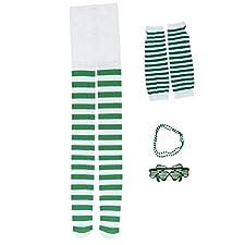 BESTOYARD 4 Pezzi di Accessori per la Festa di San Patrizio, Occhiali, Leggings Guanti Lunghi, Pantaloni a Righe, Decorazioni per la parata Irlandese