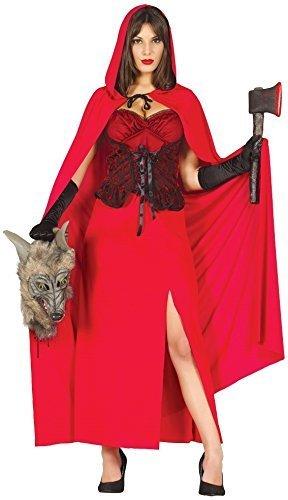 Fancy Me Damen sexy lang ROTKÄPPCHEN Märchen Halloween Kostüm Kleid Outfit - Rot, UK 8-10