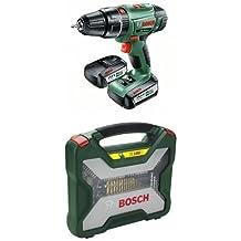 Bosch PSB 14,4 LI-2 - Atornillador/taladro de percusión con 2 baterías de litio (36 W, 14,4 V) + Bosch 2 607 019 330 - Maletín X-Line de 100 unidades para taladrar y atornillar - 340 x 369 x 70
