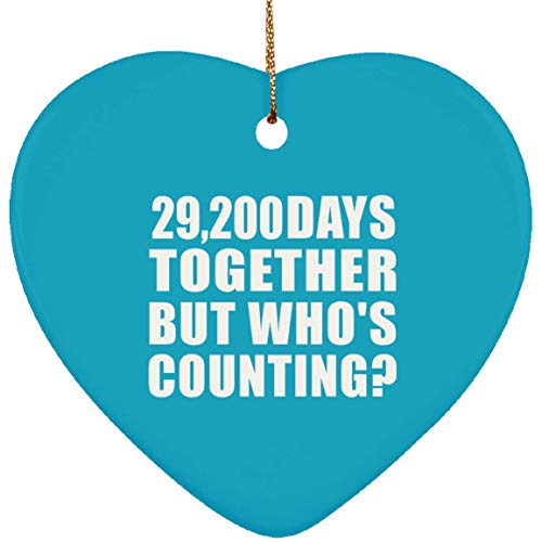 80th Anniversary 29,200 Days Together But Who's Counting Heart Ornament Turquoise Funny Quote Christmas Ornaments for Kids Women Men Friends Family Xmas Gifts