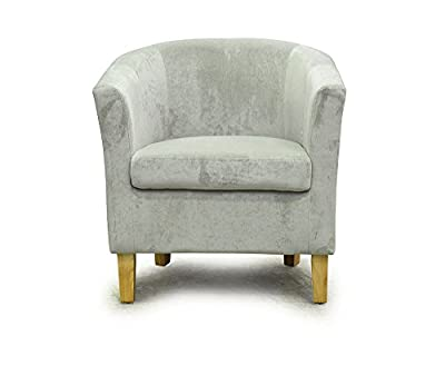 Chenille Tub Chair Armchair - Grey Fabric w. Natural Legs produced by Sue Ryder - quick delivery from UK.