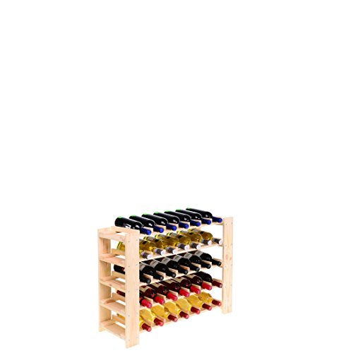 Weinregal FACILE, Holz Kiefer natur, für 35 Flaschen - H 58,8 x B 80 x T 29,3 cm