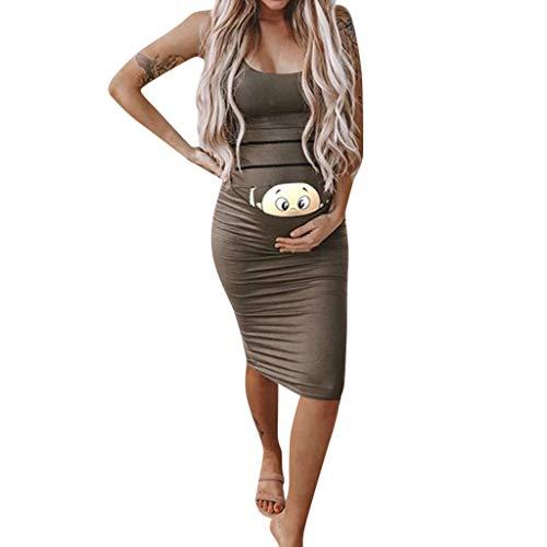 Vestido Premamá,Gusspower Ropa Maternidad Divertida, Vestido Embarazada de Moda Impresión de Dibujos Animados Vestido Sin Manga Vestido de Lactancia Talla Grande Faldas Largas Verano