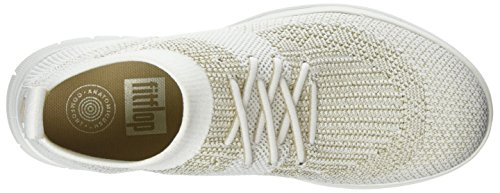 FitFlop Uberknit Slip-On High Top Sneaker, Baskets Hautes Femme, Noir, Taille Unique Multicolour (Metallic Gold/Urban White)