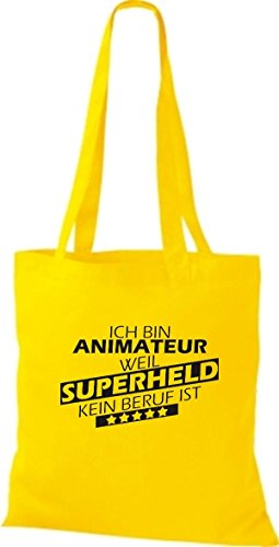 bin Animateur kein Ich goldgelb Superheld ist Stoffbeutel Shirtstown weil Beruf ES4ttw