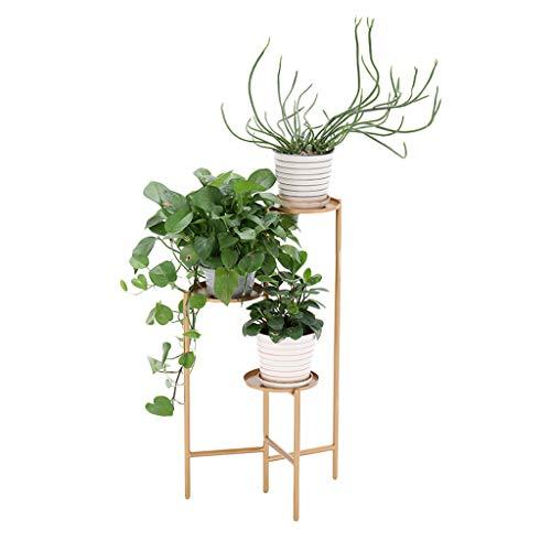 HTZ Support À Fleurs Pliant En Or 3 Couches | Support À Fleurs Pliable En Métal | Support Pour Plantes Sur Le Salon Avec Balcon ++